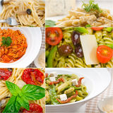 Collection of different type of Italian pasta collage Stock Photo