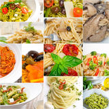 Collection of different type of Italian pasta collage Stock Photography