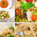 Collection of different type of Italian pasta collage Stock Image