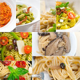 Collection of different type of Italian pasta collage Royalty Free Stock Photos