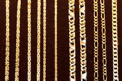 Golden necklaces Stock Photo