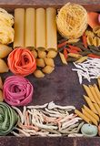 Collection of different types of Italian pasta Stock Image
