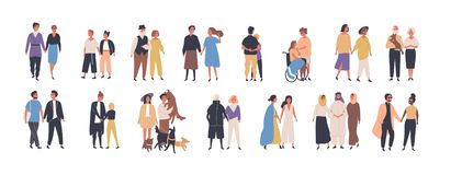 Collection of different types of romantic relationships and marriage - polygyny, interracial, lgbt and elderly couples. Isolated on white background. Love royalty free illustration