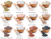 Collection of different types of salt isolated on Stock Images