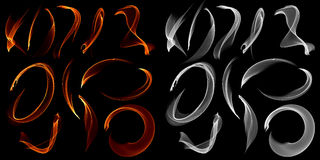 Collection of different types and shapes of flames  on black background with alfa channel Stock Image
