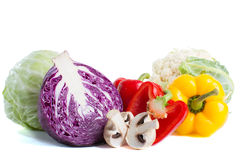 Collection of different varieties of cabbage and fresh vegetables Royalty Free Stock Photo