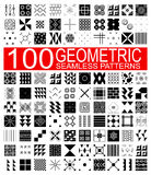 Collection of 100 different vector geometric seamless patterns Stock Image