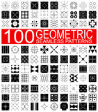 Collection of 100 different vector geometric seamless patterns Stock Photos