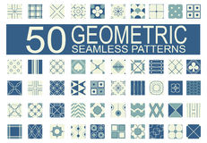 Collection of 50 different vector geometric seamless patterns Royalty Free Stock Photos
