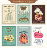 Collection of different vintage flyers. Stock Photos