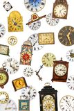 Collection of different vintage table clocks and clock faces royalty free stock photos