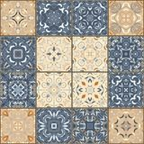 Collection of different vintage tiles Stock Photos