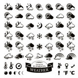 Collection of different weather icons Royalty Free Stock Photo