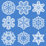 Collection of different white snowflakes Royalty Free Stock Image