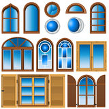 Collection of different windows royalty free illustration