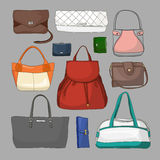 Collection of different women bags Royalty Free Stock Photos