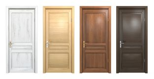 Collection of different wooden doors  on white Stock Image