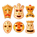 Collection of different wooden voodoo masks Stock Photo