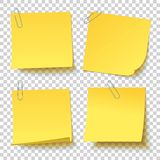 Collection of different yellow sticker with paper clip attached royalty free stock image