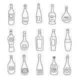 A collection of differently shaped bottles of spirits. A collection of a differently shaped bottles of spirits Royalty Free Stock Images