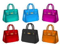 Collection of differents colorful handbags Stock Image