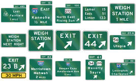 Collection of direction signs used in the USA Stock Photo