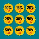 Sale tags 10, 15, 20, 25, 30, 40, 50, 60 percent. Collection of discount badges, stamps, stickers labels. Product promotion vector illustration