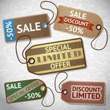 Collection of discount cardboard sale labels Stock Photos