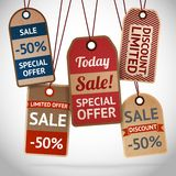 Collection of discount cardboard sale labels. Vector illustration Royalty Free Stock Photos