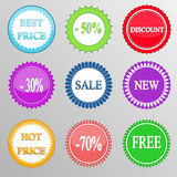 Collection of discount labels. Vector Stock Images