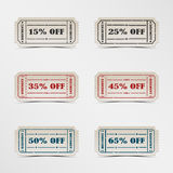 Collection discount vintage ticket. Vector eps 10 Royalty Free Stock Photography