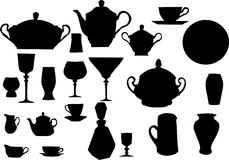 Collection of dishware. Illustration with collection of dishware isolated on white background vector illustration
