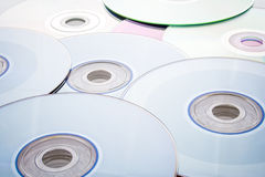 Collection of disks. A collection of compact discs in detail Stock Photos
