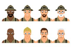 Collection of diverse cartoon adventurers Stock Photo