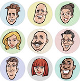 Collection of diverse cartoon vector people faces vector illustration