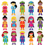 Collection of Diverse Group of Superhero Girls. Matching boy superheroes in portfolio Stock Image