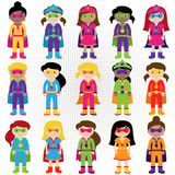 Collection of Diverse Group of Superhero Girls. Matching boy superheroes in portfolio Royalty Free Stock Photography