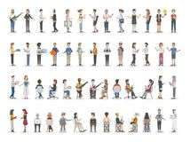 Collection of diverse illustrated people stock illustration