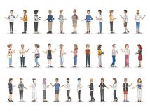 Collection of diverse illustrated people vector illustration