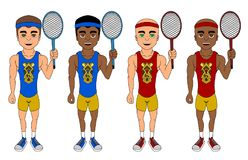 Collection of diverse tennis players cartoon stock illustration