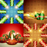 Collection of diwali festival background illustration. Vector collection of diwali festival background with crackers and diya Stock Images
