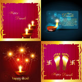 Collection of diwali holiday background. Vector collection of diwali holiday background with burning diyas and fireworks illustration