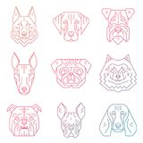 Collection of dog`s heads created in simple geometric style. Royalty Free Stock Image