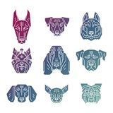 Collection of dog`s heads in simple geometric style. Royalty Free Stock Photos