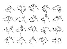 Collection of dogs heads profile side view portraits silhouettes in black Royalty Free Stock Photography