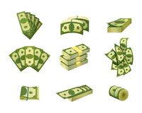 Collection of dollar bills. Green banknotes. American cash. Banking currency. Paper money. Concept of financial success. Investment or wealth. Flat vector Royalty Free Stock Images