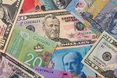 Collection on dollar money - usa, canada and australia.  royalty free stock photography