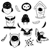 Collection of doodle black and white elements and owls on white background. Set of birds drawn in simple style. Nesting box owls royalty free illustration