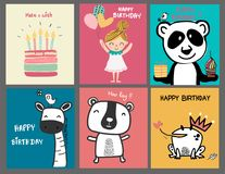 Collection doodle cute cartoon birthday card. Collection doodle cute animal cartoon birthday card vector illustration