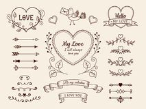 Valentine and wedding design elements. Hand drawn arrows, hearts, dividers, ribbon banners. Vector illustration. royalty free illustration